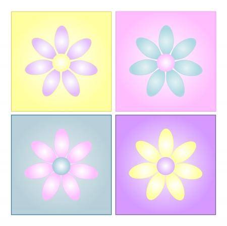 Grafische illustratie van vier pastel gekleurde bloemen op vierkante gradiënt achtergronden.