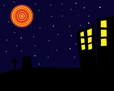 Graphic illustration of a spooky, dark  night with gravestones and old buildings.
