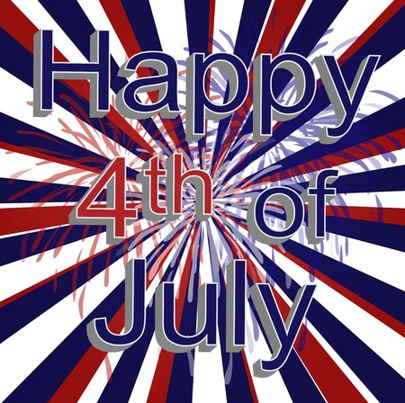 Graphic illustration of red, white, and blue vortex with firework decoration and happy 4th of july text. Banco de Imagens