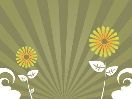 Graphic illustration of abstract flowers and vortex against a tan radial gradient background. 版權商用圖片
