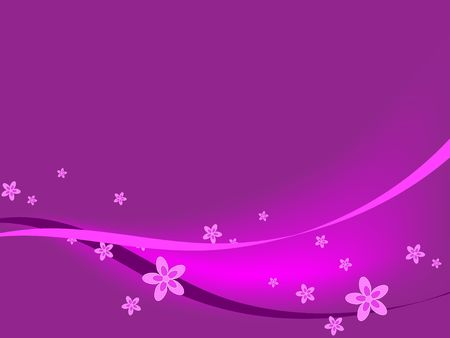 Pink ribbons and flowers against a purple background.