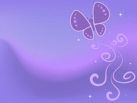 Graphic illustration of abstract butterflies and swirls against pastel swoop background.