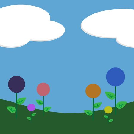 Graphic illustration of candy shaped flowers and grass against a blue sky and clouds background.