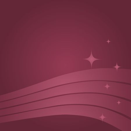 Graphic illustration of abstract swoops and stars against a mauve background.