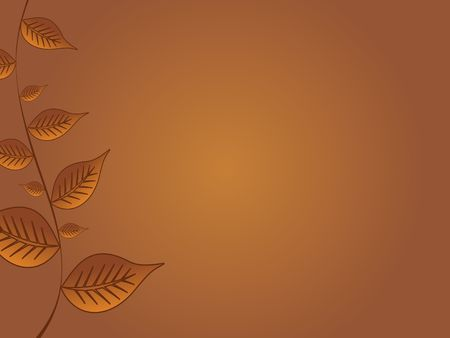 Graphic illustration of golden fall leaves against a brown background. 版權商用圖片