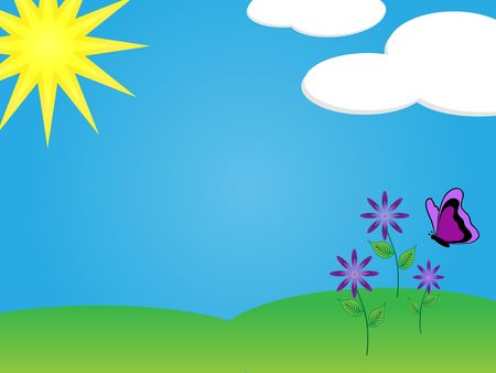 Graphic illustration of blue sky, sunshine and purple flowers with a butterfly on green grass.