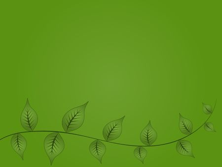 Graphic illustration of green leaves on a vine against a gradient background. Banco de Imagens