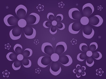 Graphic illustration of lavender gradient flowers scattered against a darker purple background. Banco de Imagens