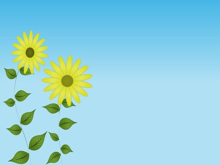 Graphic illustration of yellow sunflowers with green leaves against a blue gradient background. Banco de Imagens