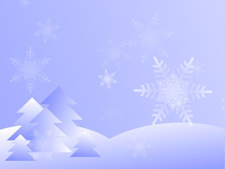 Graphic illustration of blue gradient snowy winter day with trees and falling snowflakes.