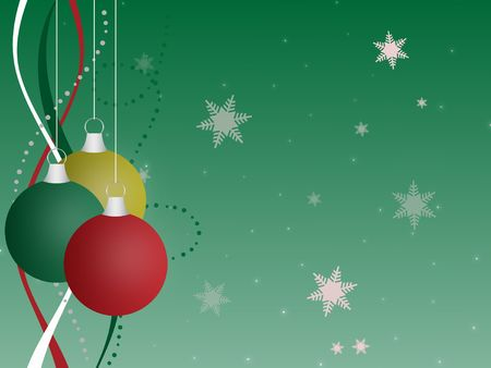 Graphic illustration of multi-colored Christmas ornaments against a green gradient background with ribbons, sparkles, and snowflakes. Banco de Imagens