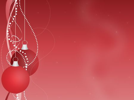 Graphic illustration of red Christmas ornaments hanging with ribbons and beads against a gradient background.