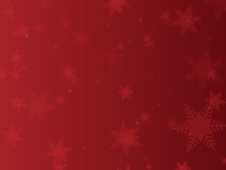 Graphic illustration of snowflakes and sparkles against a red gradient background.
