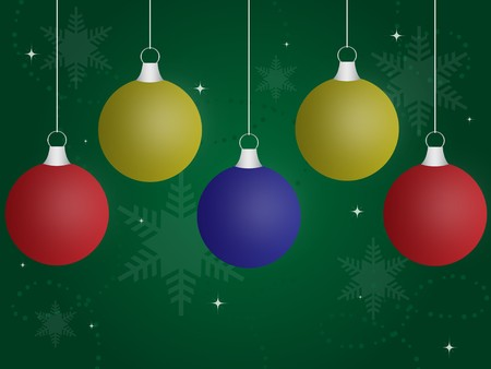 Multi-colored hanging christmas ornaments against a green gradient background with sparkles and snowflakes.