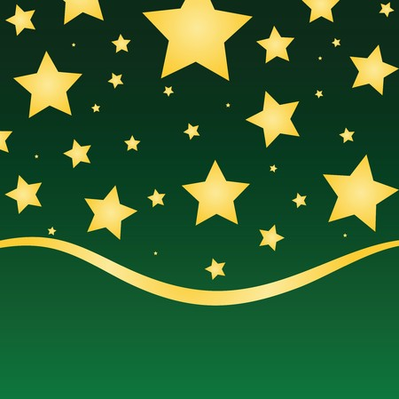 Gold stars against a green gradient background with ribbon border.