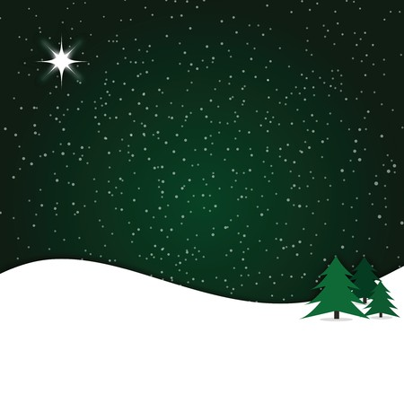Graphic illustration of winter snow scene against dark green gradient background. Banco de Imagens