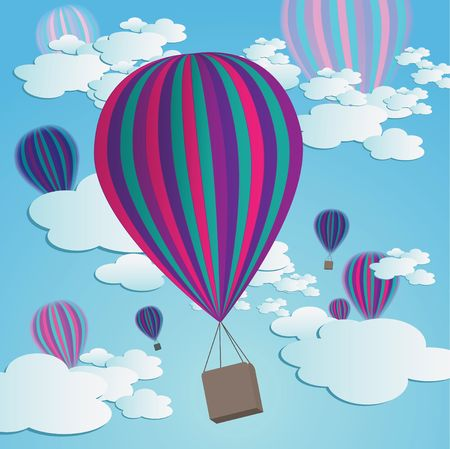 Colorful hot air balloons against a blue gradient sky with cartoon clouds.