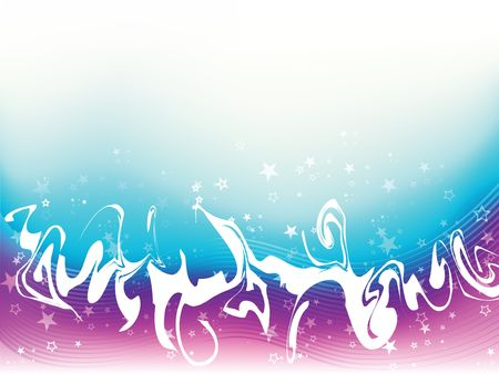 Graphic illustration of grunge shape against stripes and purple and blue gradient background with stars and sparkles.