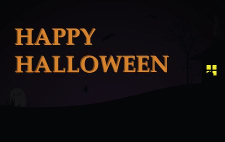 Happy Halloween text on a dark purple gradient background with spooky house, trees, and grave stone.