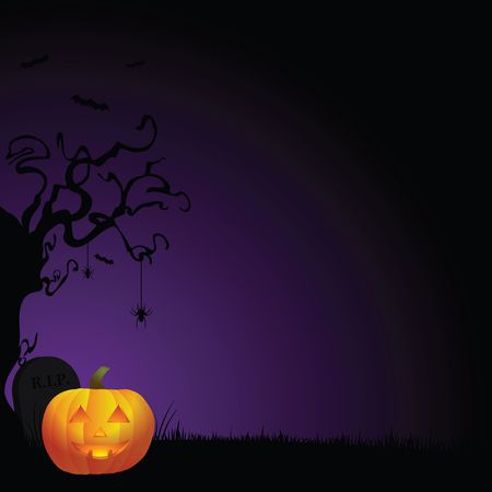 Spooky Halloween background with creepy tree, smiling pumpkin, and tombstone against purple and black gradient background.
