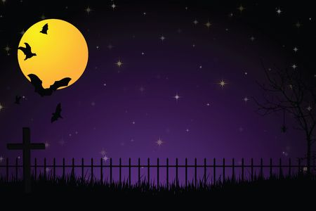 Scary graveyard with iron fence, cross, full yellow moon, flying bats and tall grass against a purple and black gradient background.