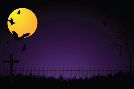 tall grass: Scary graveyard with iron fence, cross, full yellow moon, flying bats and tall grass against a purple and black gradient background.