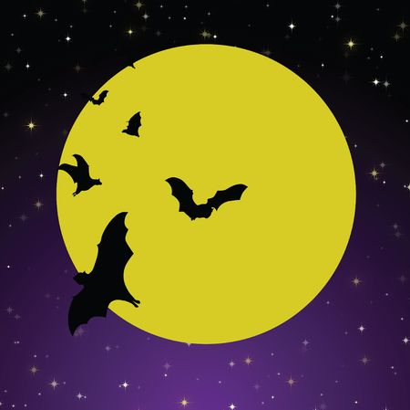 Spooky Halloween background with bright yellow moon against purple and black gradient starry sky and flying black bats. Banco de Imagens