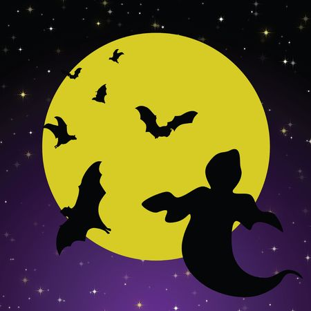 halloween background: Spooky Halloween background with bright yellow moon against purple and black gradient starry sky and flying black bats and a ghost. Stock Photo