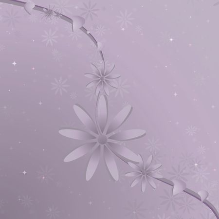 Purple vine and flowers against a gradient lavender background with smaller blooms and white and pink sparkles.