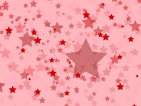Shades of red patriotic stars in different sizes against a pink background. Banco de Imagens