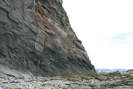 This is a a cliff over a beach in the forest on a nice sunny day. photo
