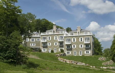 This is a residential area on a ski mountain in the summer. Stok Fotoğraf - 11287137