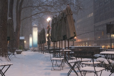 This is a blizzard in Bryant Park, New York city. photo