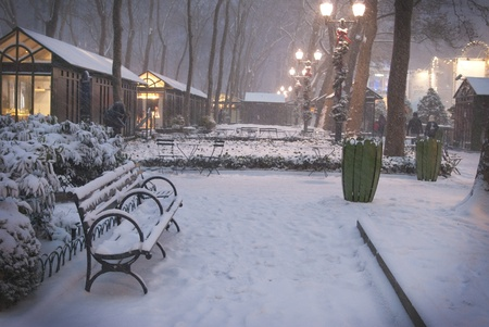 This is a big blizzard in Bryant Park New York at night.