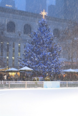 bryant park: This is a exteror ice ring in a blizzard locatede in Bryant Park New York.