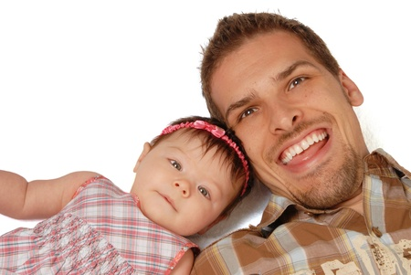 This is a close-up of a father and his daughter on a white background  Stock fotó