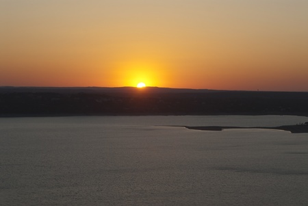 This is a sunset on a lake of Austin, Texas.