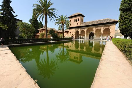 Wide angle view of  pond with goldfish and visitors at the Torre de las Damas, Tower of The Ladies, Partal, The Alhambra Palaces, Granada, Andalusia, Spain