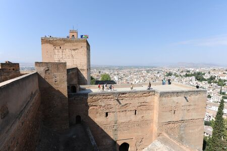 View to The Watchtower Torre de la Vela,  The Alcazaba, The Alhambra, with the city of Granada spread out below, Granada, Andalusia, Spain . Granada, Andalusia, Spain