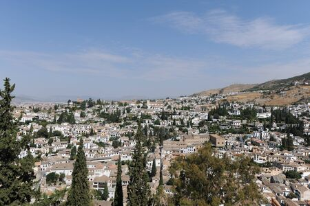 View to horizon over the Albaicin quarter of Granada, viewed from The Alcazaba, The Alhambra, Granada, Andalusia, Spain