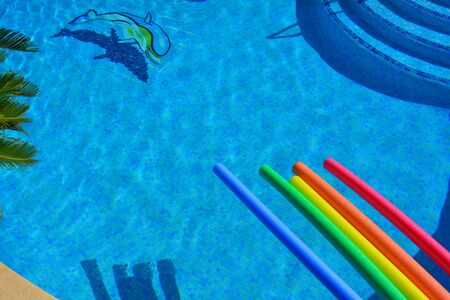 Brightly coloured pool noodles on poolside, high angle swimming pool view with sago palm, dolphin mosaic and steps
