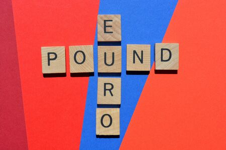 Euro and Pound, words in crossword form on red and blue background