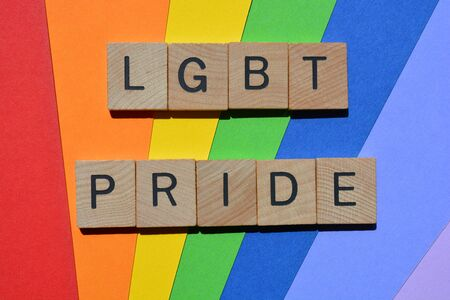 LGBT Pride, words in 3d wooden alphabet letters isolated on rainbow coloured background