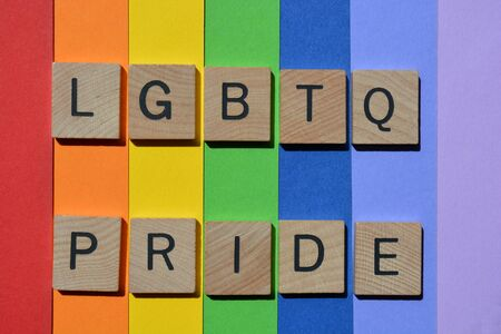Pride LGBTQ, words in 3d wooden alphabet letters isolated on rainbow coloured background Imagens