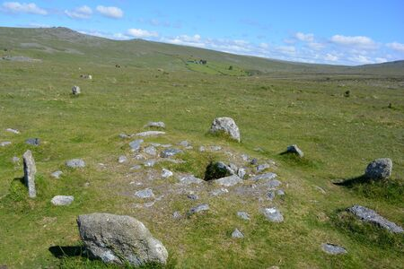 Stone circle within the double row of standing stones, prehistoric antiquity associated with the Neolithic to Middle Bronze Age settlement site, Merrivale, Dartmoor National Park, Devon, England,