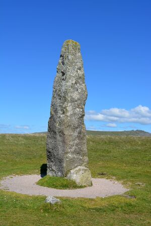 Merrivale Menhir Standing Stone, a prehistoric antiquity associated with the Neolithic to Middle Bronze Age settlement site. Merrivale Prehistoric Settlement, Dartmoor National Park, Devon, England