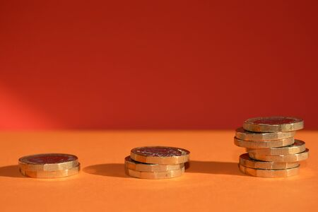 Piles of coins with copy space, indicating growth