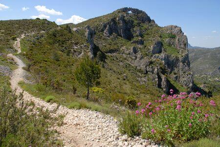 hiking trail to la Forada Rock Arch, Sierra de la Forada, Alicante Province, Comunidad Valenciana, Spain