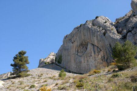 Scree slope and the Els Frares limestone rock pinnacles, Sierra de Serrella, Comtat, Alicante Province, Comunidad Valenciana, Spain