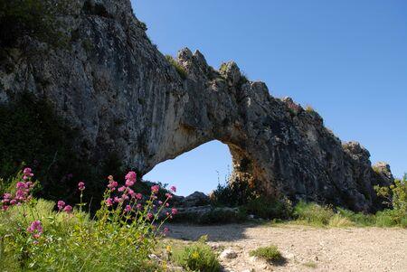 Wildflowers and La Forada Rock Arch, Sierra de la Forada, Alicante Province, Comunidad Valenciana, Spain Stock Photo